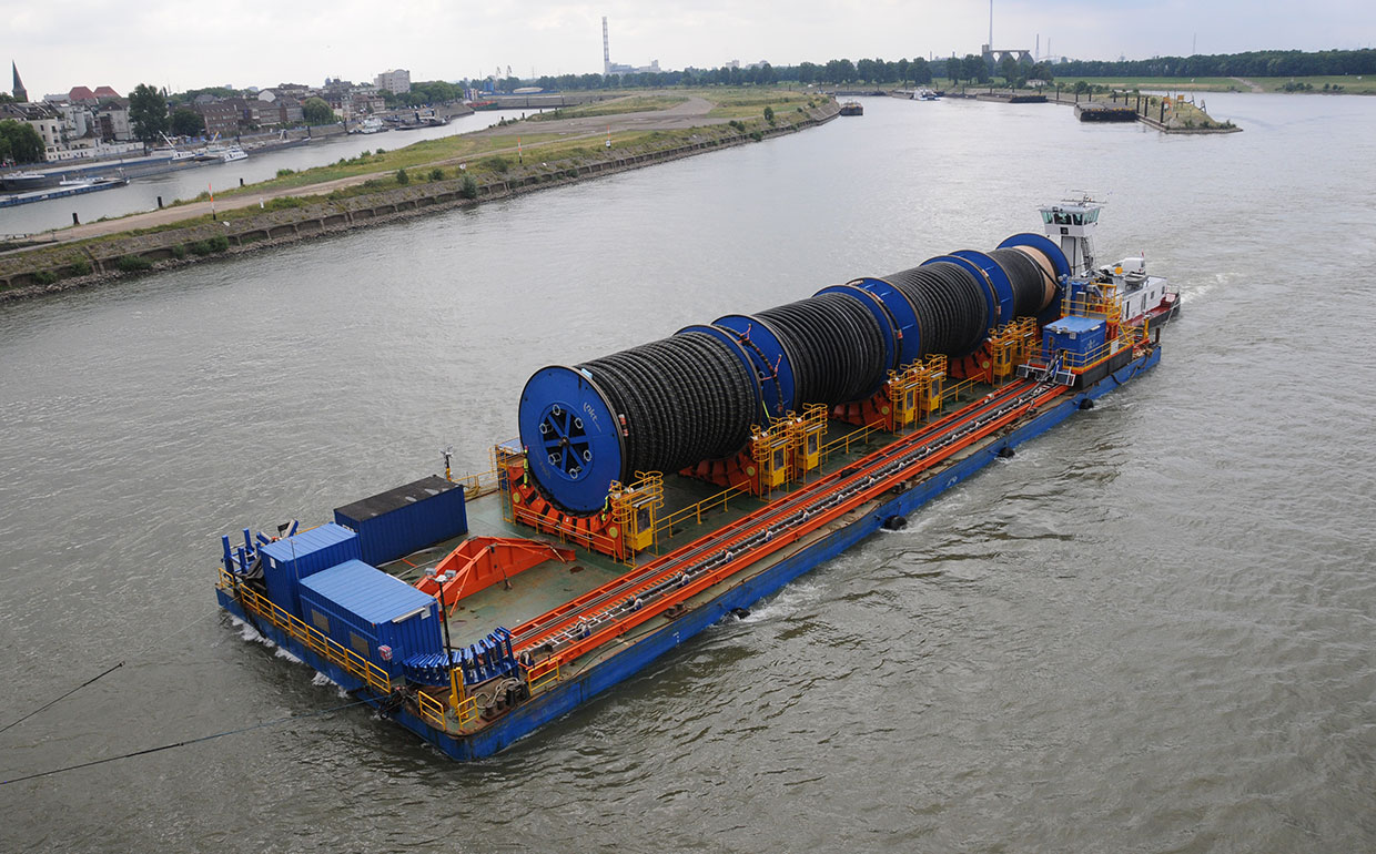 Cable transports on Rhine River.